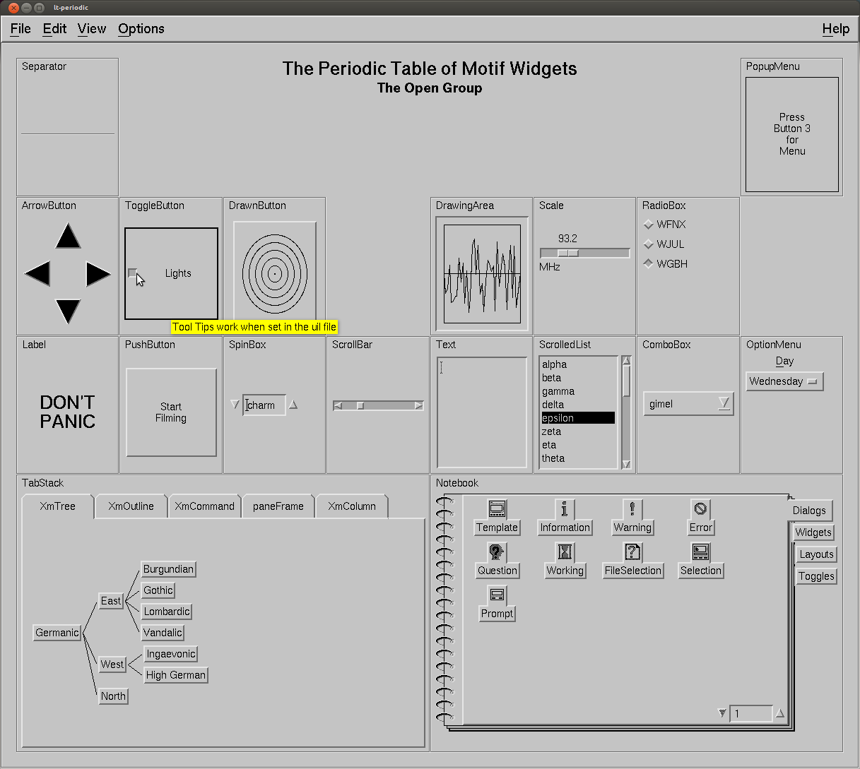 Sample of Motif widgets